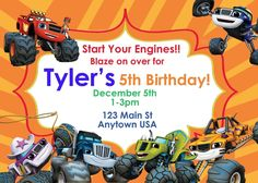 Blaze and the Monster Machines, Invitations, Birthday,