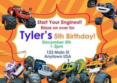 Blaze and the Monster Machines, Invitations, Birthday,