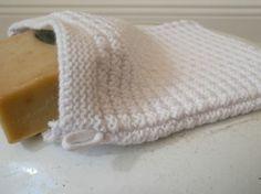 Waschhandschuh Waschlappen Seifenlappen gestrickt weiss von Solwang