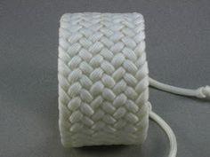 Knots and fiber bracelets: white paracord herringbone weave turks head knot bracelet 1006