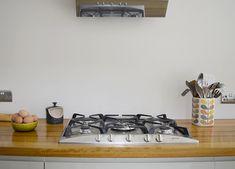 DIY Splashback Using Wallpaper - Pillar Box Blue Kitchen Extension Semi Detached, Wallpaper Backsplash Kitchen, Country Kitchen Designs, Splashback, Kitchen Appliances, Kitchen Ideas, Diy, House, Decorating