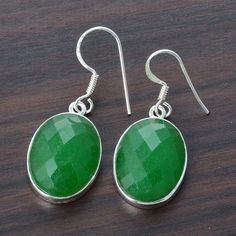 925 STERLING SILVER EXCLUSIVE GREEN ONYX FANCY EARRING 8.10g DJER2428 #Handmade #EARRING