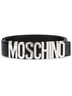 2d96759711a Moschino ceinture à plaque logo 205 EUR. Black and silver. Real Leather Belt