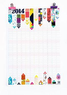 Pared planificador 2014 calendario oficina organizador patrón Reversible Diseño HG Wells citar