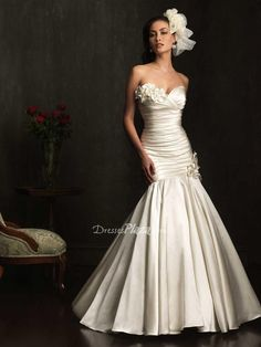 satin mermaid floral sweetheart strapless drop waist pleated #wedding #gown. $ 818.00 off $338.00
