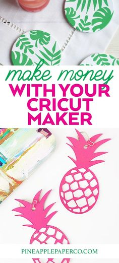 Get the basics! Easy tips to start making money with a Cricut Maker! Is it worth spending the money on a Cricut Maker? Get ideas and projects to start a business at Pineapple Paper Co. #ad #cricut #cricutcreated #cricutmaker #mokemoneycricut #startabusiness #diybusiness #craftshow #cricutprojects Easy Diy Projects, Easy Crafts, Cricut Creations, Cricut Vinyl, Papers Co, Cricut Design, How To Make Money, Pineapple, Creative