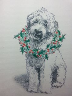 Labradoodle Holiday Card - 4.25 x 5.5 printed card from my original drawing. This card is printed on heavyweight ivory laid texture paper and comes