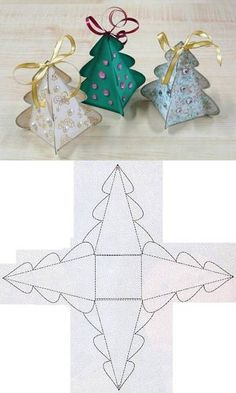 DIY Christmas Tree Box Template DIY Projects | UsefulDIY.com Diy Christmas Boxes, Christmas Gift Box Template, Diy Gift Box Template, Paper Christmas Trees, Paper Box Template, Chrismas Tree Diy, Diy Christmas Videos, Diy Christmas Table Decorations, Christmas Templates