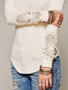 White Arm Lace Full Sleeves Shirt