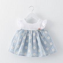 2017 algodão baby girl dress verão o-pescoço sem mangas ocasional meninas roupas de festa de casamento da princesa vestidos dress para recém-nascidos(China (Mainland))