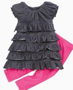 DKNY Kids Set, Little Girls Ruffle Dress and Leggings - Kids Dresses - Macy's