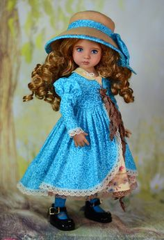 """This charming handmade ensemble will fit 13"""" Dianna Effner Little Darling Dolls. """"The Mayor's Daughter """". Included in this ensemble to detail. The outfit is made of high quality materials. Hat. Coat. 