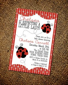 Little Lady Bug Baby Shower Invitation by MiaRaeCollections