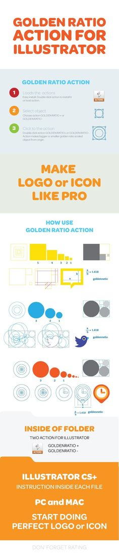 Buy Golden Ratio Illustrator Action by heavydesignforce on GraphicRiver. The designer's guide to the Golden Ratio There's a common mathematical ratio found in nature that can be used to crea. Illustrator Tutorials, Adobe Illustrator, Do Perfect, Golden Ratio, Pattern Illustration, Portfolio Design, Designs To Draw, Your Design, How To Apply