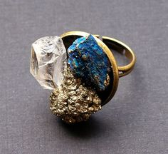 Quartz Pyrite and Peacock Ore Bronze Ring by AdamRabbit on Etsy, $17.00