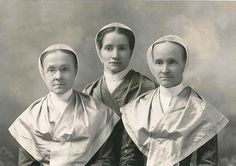 Sister Carrie Wade (1872-1924, Mount Lebanon, NY) grew up at the Church Family with a handful of other young girls including her best friend Mintie Dalton. When they were seventeen Mintie left the Shakers and Carrie (center) started her life as a Shaker Sister sewing in the cloak shop managed by Sister Emma Neale (left). To read more of Sister Carrie's story visit www.shakerml.org/exhibitions Shaker Museum | Mount Lebanon.