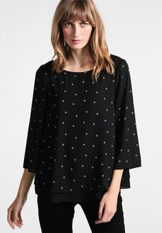 """Esprit Collection. SOFT CREPE - Blouse - black. Fit:large. Outer fabric material:100% polyester. Our model's height:Our model is 69.5 """" tall and is wearing size 10. Pattern:Print. Care instructions:machine wash at 40°C,do not tumble dry. Necklin..."""