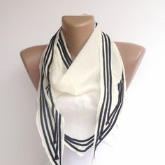 black and white stripe scarf , super girly , spring summer accessory for her , womens fashion scarves , gifts for her NEW. $19.00, via Etsy.
