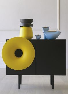 Sideboard CARUSO invites you to sit down, take a break, and find again the magic to hear and see an object that plays good music.  Designed by Paolo Cappello, MINIFORMS