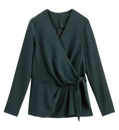 La Redoute Collections Blouse faux cache-c? Long Shorts, Silhouette, Blouses For Women, Dress Up, Bell Sleeve Top, Lady, Long Sleeve, Sleeves, Silhouettes