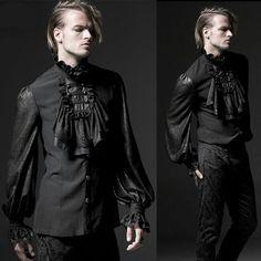 Men Black Long Sleeve Button Down Victorian Gothic Dress Shirts SKU-11407051