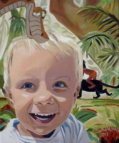 """EvaSchlitzer """"Matteo in the jungle"""", 60 x 50, Acryl auf Leinen, 2017, Portrait, Auftragsmalerei, Baby, Junge, Blumen,  zeitgenössische Malerei, Dschungel, Gegenständliche Kunst Collage, My Works, Princess Zelda, Portrait, Baby, Anime, Fictional Characters, Jungles, Linen Fabric"""