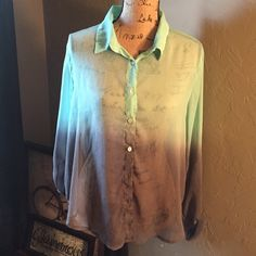 Ombré top! Sheer turquoise and gray top! EUC! Living Doll Tops Blouses