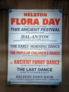 HELSTON FLORA DAY POSTER: lists the traditional dances to be performed during the day. ✫ღ⊰n