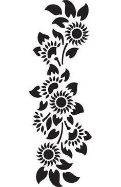 girasoles Stencil Patterns, Stencil Designs, Wall Art Designs, Paint Designs, Folk Embroidery, Hand Embroidery Patterns, Embroidery Designs, Simple Flower Drawing, Nouveau Tattoo