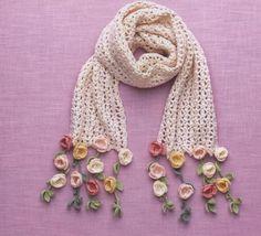 Ideas For Crochet Cowl Hat Yarns Crochet Flower Scarf, Crochet Flower Patterns, Crochet Scarves, Crochet Shawl, Crochet Designs, Crochet Clothes, Crochet Flowers, Crochet Lace, Crochet Stitches