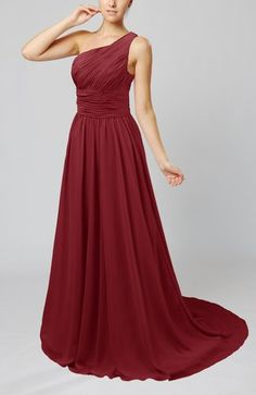 Dark Red Modest Asymmetric Neckline Sleeveless Half Backless Chiffon Bridesmaid Dresses