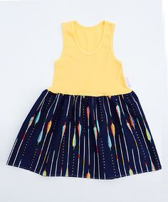 Love this Yellow & Navy Arrow Dress - Toddler & Girls by Alejandra Kearl Designs on #zulily! #zulilyfinds