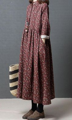 Women dress loose fit pocket flower Bohemian Boho long sleeve tunic large size #Unbranded #dress #Casual #womensfashiondresseslong