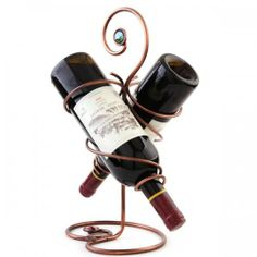 European-style Retro Metal Wine Rack Holds 2 Wine Bottles Holder Counter or Tabletop