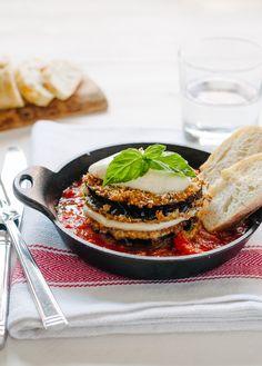 Quinoa crusted eggplant parmigiana