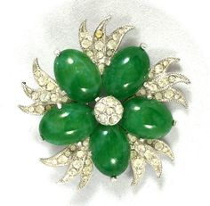 Eisenberg Ice Faux Jade Floral Brooch by Vintageimagine on Etsy
