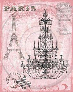 Paris Pink Chandelier Digital Collage for Hang Tags por fringeart