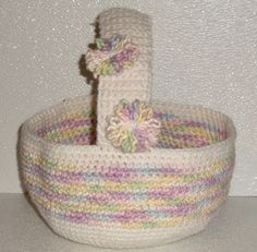 Crochet easter gift basket hand made in usa light peachy variegated crochet easter basket hand made in usa white and variegated pastel 95 by 9 negle Choice Image