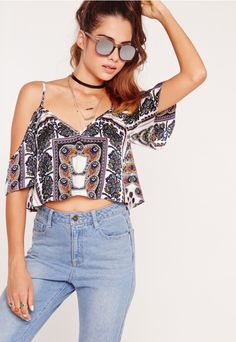 Cold Shoulder Scarf Print Cami Crop Top Blue - Missguided