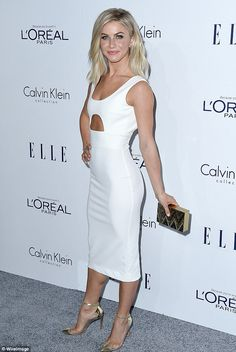 Amy Schumer looks slinky in red dress at Elle Women awards Athletic: Julianne Hough was perfectly poised in a fitted white midi-dress. Amy Schumer, Julianne Hough Hot, Beauté Blonde, White Midi Dress, Hot Blondes, Sexy Dresses, Celebs, Womens Fashion, Style Fashion