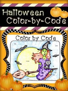 FREE Halloween Color by Code, practicing long versus short vowel sounds