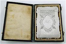 Ornate Victorian Sterling Silver Calling Card Case in Original Box KATIE