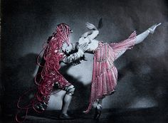 If It's Hip, It's Here: Technicolor Twinkle Toes. Embroidery on Vintage Photos of Dancers.