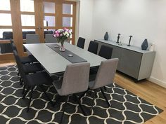 Modern dining combination with our Xenon ceramic extendable dining table, Candy dining chairs, and BOOK modular sideboard. Special size table with premium ceramic and sideboard to match. Delivered to our client in Berkshire.