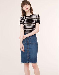 Pull&Bear - dames - rokken - spijkerrok met knopen - blauw - 09398326-I2015