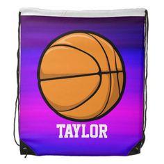 Basketball; Vibrant Violet Blue and Magenta Drawstring Bag #drawstring #backpack