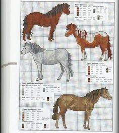 Various thoroughbred ponies - free cross stitch patterns Cross Stitch Needles, Beaded Cross Stitch, Cross Stitch Charts, Cross Stitch Designs, Cross Stitch Embroidery, Embroidery Patterns, Cross Stitch Patterns, Cross Stitch Horse, Cross Stitch Alphabet