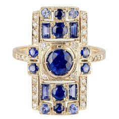 Sabine Getty Blue Sapphire Diamond Gold Harlequin Ring  | From a unique collection of vintage engagement rings at https://www.1stdibs.com/jewelry/rings/engagement-rings/