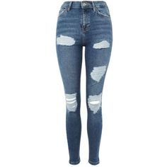 Topshop Moto Blue Super Rip Jamie Jeans (£46) ❤ liked on Polyvore featuring jeans, pants, bottoms, calças, blue, high waisted ripped skinny jeans, high waisted distressed skinny jeans, blue skinny jeans, ripped skinny jeans and high waisted distressed jeans