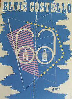 Elvis Costello - New Amsterdam. Barney Bubbles designed Promo Poster 1980